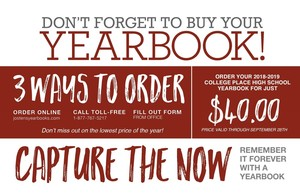 Get your yearbook for the lowest price of the year!