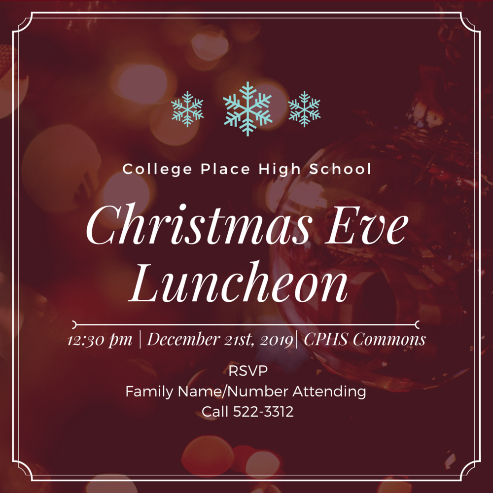 College Place 4th Annual Community Christmas Eve Luncheon