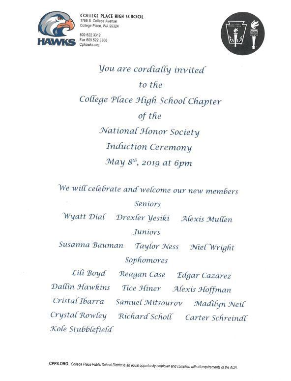 CPHS National Honor Society Induction