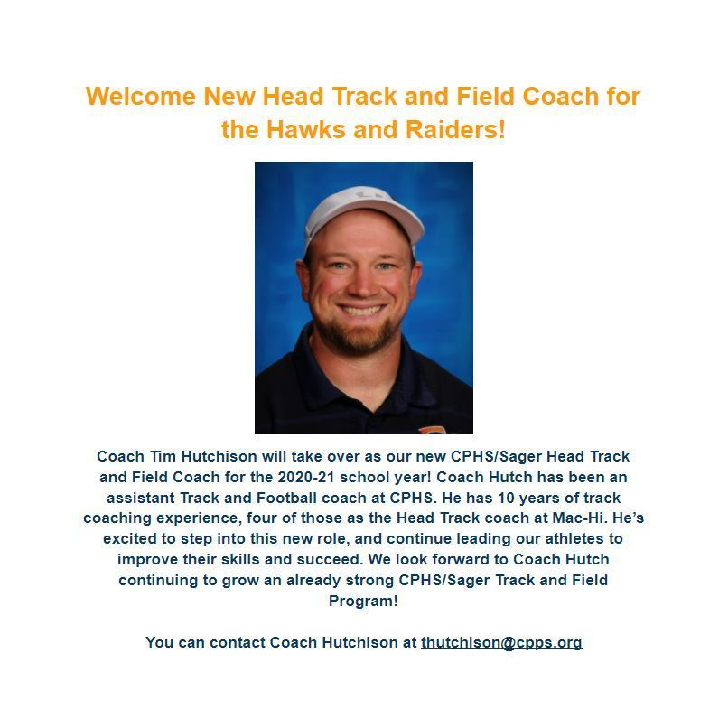 New CPHS/Sager Head Track and Field Coach!