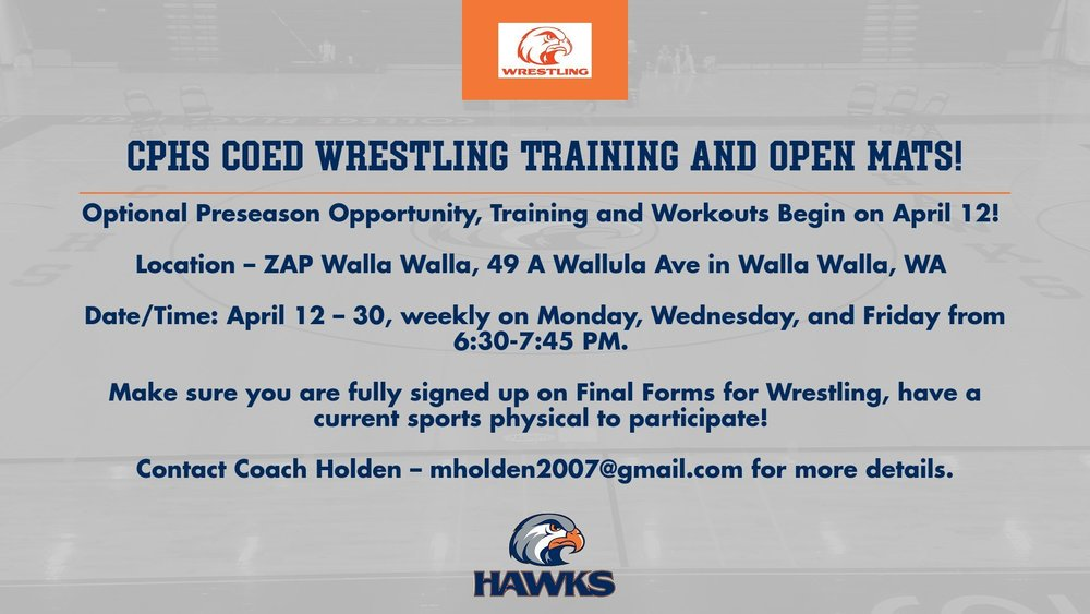 Hawks Wrestling Opportunity - Preseason Open Mats/Training