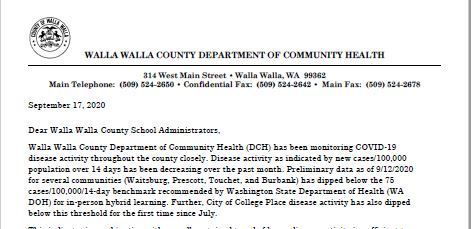 Walla Walla County Department of Community Health Recommends Schools Return to Hybrid