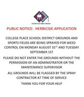 Public Notice: Herbicide Application Aug. 31 and Sept. 1