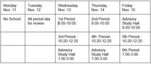 Trimester 1 Finals Week Schedule