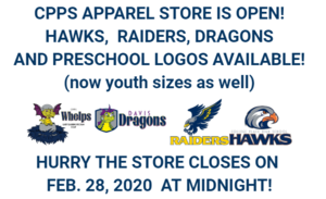 CPPS Apparel Online! Preschool, Dragons, Raiders, Hawks!