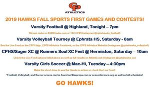 2019 HAWKS FALL SPORTS FIRST GAMES AND CONTESTS!