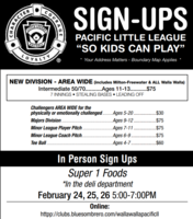 Pacific Little League Sign-ups