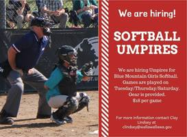 Blue Mountain Girls Softball Umpires Needed