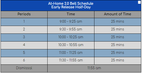 Half Day Schedule for Oct 5