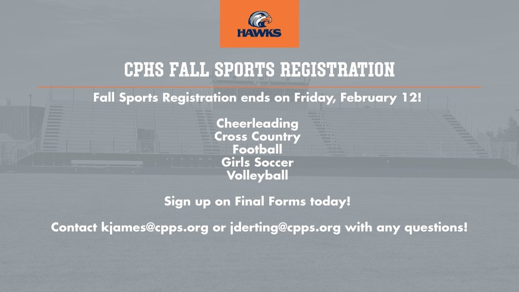CPHS Fall Sports Registration ends on Friday, February 12