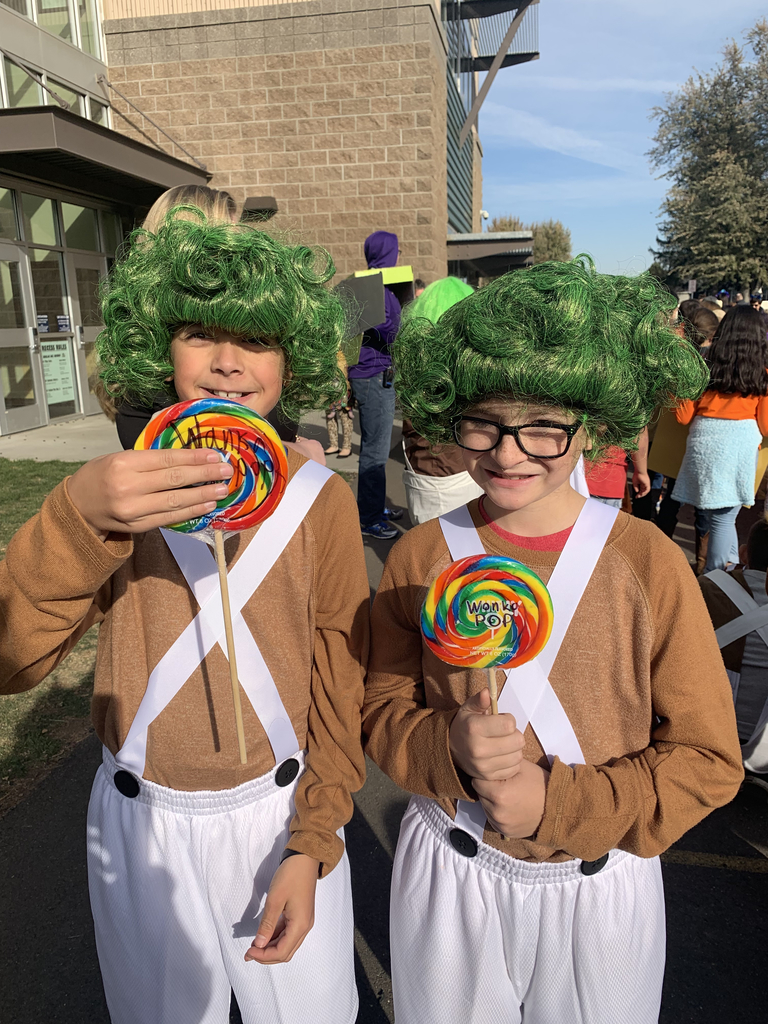 Kids dressed up as Oompa Loompas