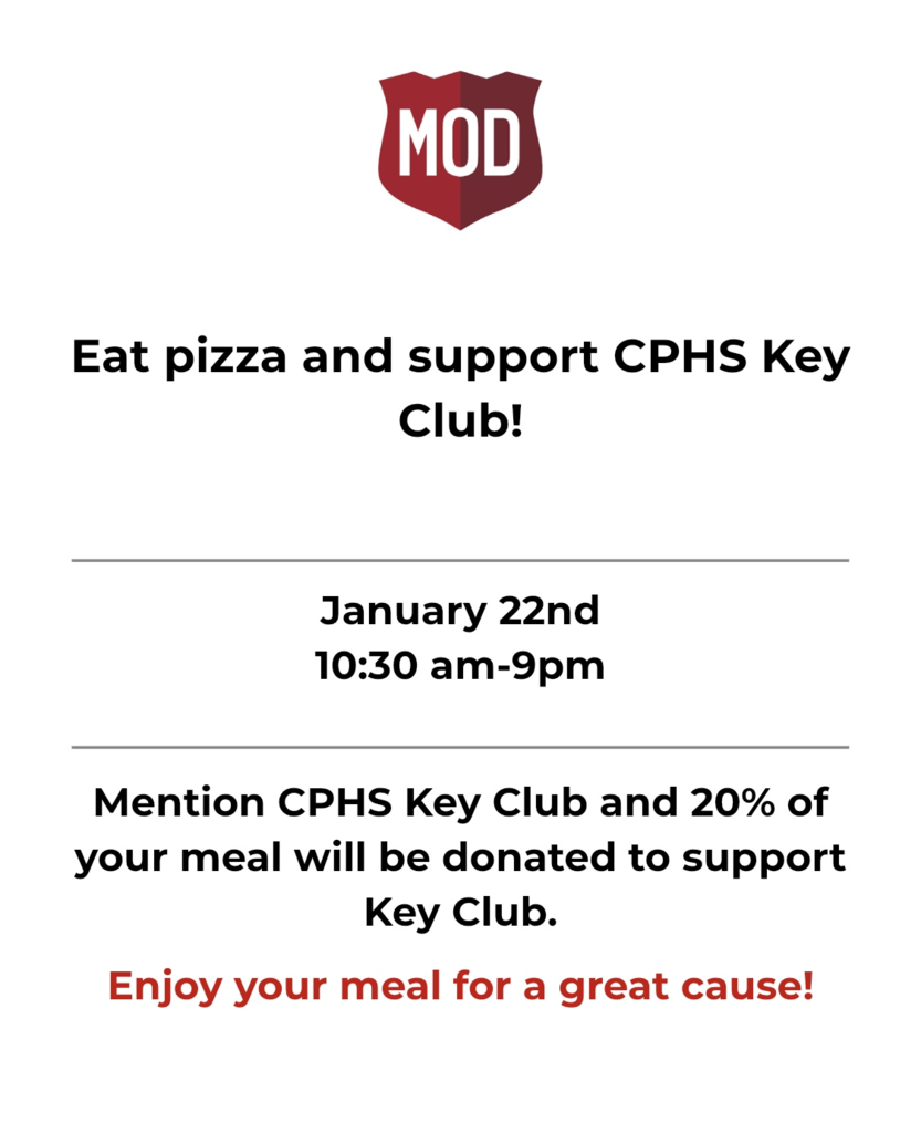 CPHS Key Club Fundraiser at Mod Pizza!